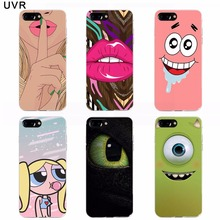 case for iPhone 8 plus 7plus Plastic Hard Cover Transparent Painted Cartoon Lips Eyes Cat Spongebob Bags cases for iPhone 8plus(China)