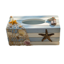 Tissue Box Creative Home Receive Wooden Paper Towel Box Of The Mediterranean Sea Home Tissue Holder(China)