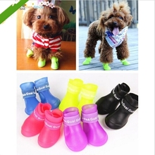 4pcs/lot News DOG BOOTS Waterproof Protective Rubber Pet Rain Shoes Booties of Candy Colors ZQ671124