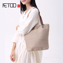 AETOO Casual cotton linen package of the Department of literature style wind handbags unprinted wind coarse simple package bag s(China)