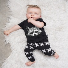 2017 New Summer baby boy clothes short-sleeved fox avatar baby Romper baby girl clothes newborn clothing set BB188
