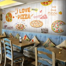 Free Shipping 3D Wood blackboard graffiti wallpaper Pizza shop snack bar restaurant burgers store wallpaper mural