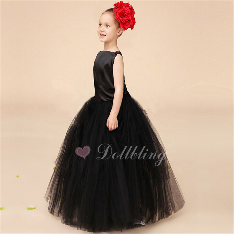 Dollbling Bridal Black Lace Mesh Wedding dress Organza Princess dress First date girl dress<br>