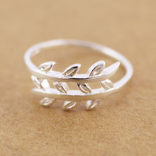925 Sterling Silver Leaves Branches 1mm THIN Knuckle Midi Pinkie Ring A3018(China)