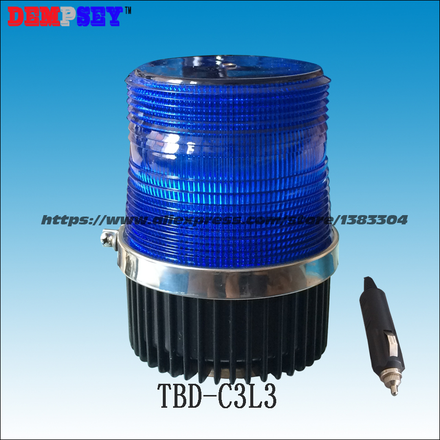 Dempsey Blue LED Strobe Beacon, car external warning lights, DC12V/24V, Magnetic Install, PC Lens, waterproof(TBD-C3L3)<br>