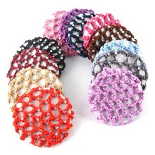 Beautiful Bun Cover Snood Hair Net Ballet Dance Skating Crochet with Diamond