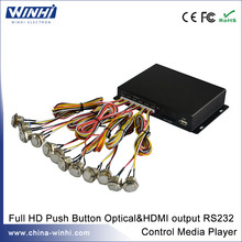 Full New HDMI Optical Coaxial Output Push Button 12V Media Player RS232 USB SD Slot Audio Video player