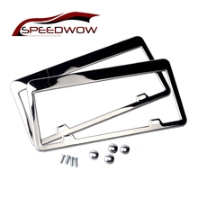 SPEEDWOW 2pcs Stainless Steel License Plate Frame Tag Cover Holder For Auto Truck Vehicles Only For American Canada Car(China)