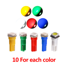 50pcs (Yellow +Blue +green +red +white) Car Interior T5 LED light SMD Dashboard Lamp led Bulb car light source