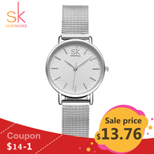 SK Super Slim Silver Mesh Stainless Steel Watches Women Top Brand Luxury Casual Clock Ladies Wrist Watch Lady Relogio Feminino(China)