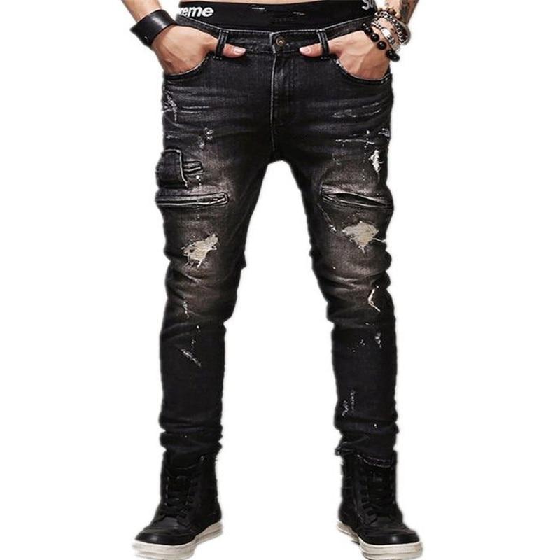 2017 Hip Hop Men Jeans masculina black Denim distressed Mens Slim Jeans pants Brand Biker skinny rock ripped jeans homme 29-40Îäåæäà è àêñåññóàðû<br><br>
