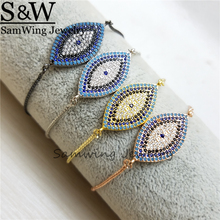 5 Piece/lot2017 new design Unisex Luxury jewelry Zircon Eye For Women adjustable bracelets best selling products(China)