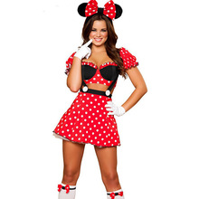 Rojo adultos minnie mouse fiesta de disfraces cosplay disfraces de halloween para las mujeres sexy fancy dress al por mayor