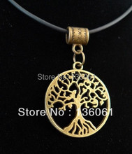Vintage Bronze ROUND TREE OF LIFE ROOTS Charm Pendants BLACK Leather Statement Collar Choker Necklace Jewelry Hot P311