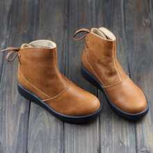 Shoes Woman Boots Brown/Black Genuine Leather Martin Boots Round Toe Thick Platform Rubber Sole 2015 Autumn shoes (H205)