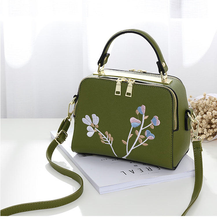 Fashion Embroidery Women Shoulder bag Simple Casual Floral Mini Lady bag Black Pink Gray Purple and Green colors 21*16*11cm size