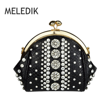 Meledik Brand Women Shell Bag High Quality Leather Serpentine Pattern Women's Handbag Evening Party Shoulder Bag Diamond Deco