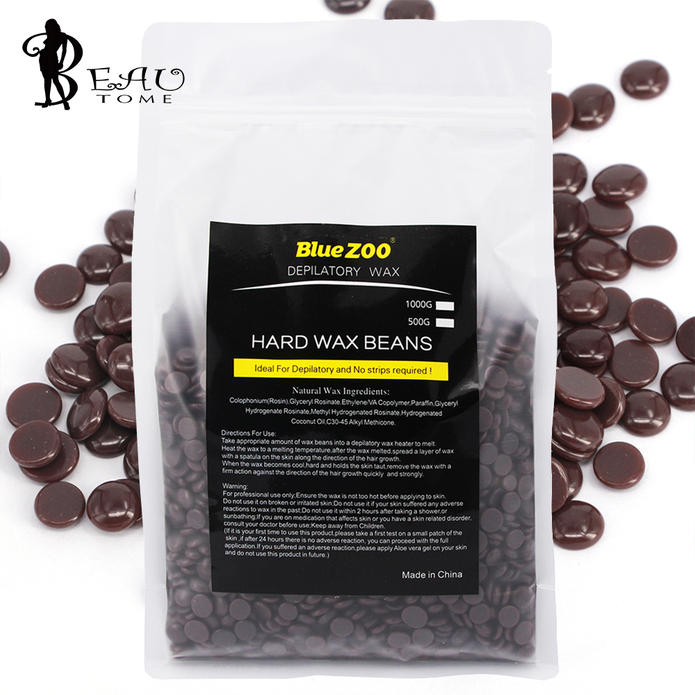 New 1000g Chocolate Flavor Clean Natural Hair Removal Cream Hard Wax Beans Epilation Hot Film Pellet Depilatory Waxing No strips<br>