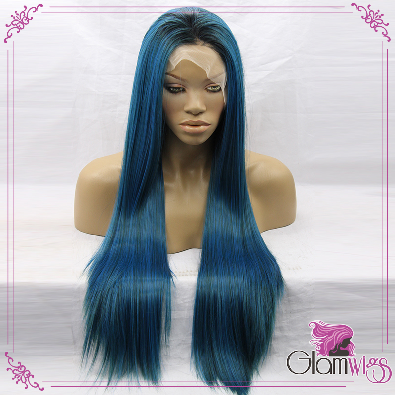 Two Tones Synthetic Hair Long Straight Heat Resistant Fibers Glueless Blue Dark Root Wigs<br><br>Aliexpress