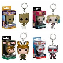 Marvel Funko Pop Keychain Toy Loki Civil War Ant-Man Guardians Of the Galaxy Bobble Head Tree Man Suicide Squad Harley Quinn Toy