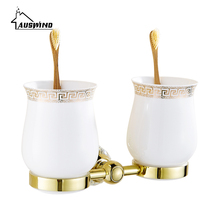 Crystal Brass Double Cup Tumbler Holders Glass Gold Toothbrush Cup Holders Bathroom Accessories(China)