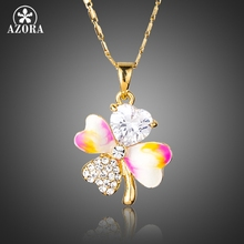 AZORA Gold Color Four-leaf Clover Heart Top grade CZ Oil Painting Pattern Design Pendant Necklace TN0166