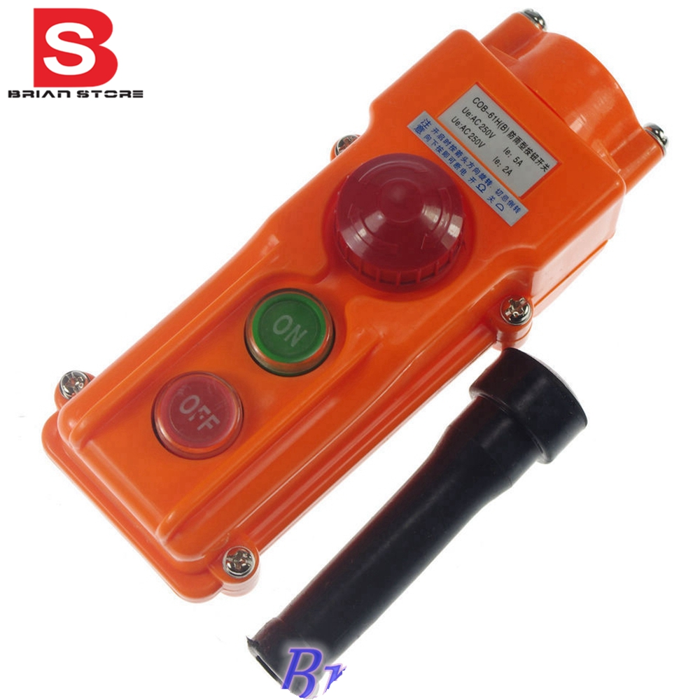 Hoist Crane Pendant Control Station COB-61HB Push Button Switch Emergency<br><br>Aliexpress