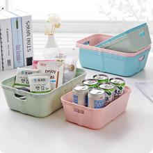 Plain Plastic Imitation Rattan Storage Box Desktop Snacks Organizer Kitchen Accessories Cabinet Drawer Box Bathroom Basket