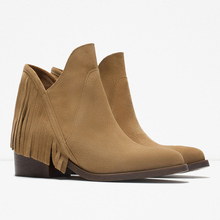 Trendy Comfy Suede Leather Womens Casual Ponited Toe Cowboy Square Heel Western Fringe Ankle Boots