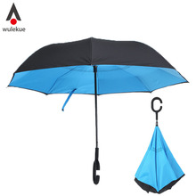 Wulekue Blue Double Inverted Reversible Windproof UV Protection Big Straight Umbrella Self Standing for Car