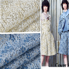 1Meter Polyester Rayon Jacquard Brocade Fabric Metallic Fabric Material For Dress Clothes 140CM Width Gold Blue 260G/M