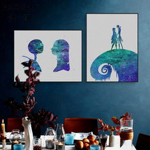 HAOCHU Blue Starry Star Minimalist Landscape Fairy Couple Stand in Mountain Wall Poster Canvas Painting Living Room Decor Pic(China)