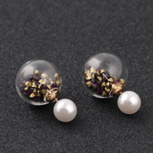 New Arrive Stud Deep Purple Earrings Pearl , Big Stud Pearl Crystal Earring DIY Earrings Be An Gifts (Free Shipping)ED027#