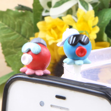 Action Figure random lovely Octopus Couple Dustproof dust plug 2.4cm PVC 3.5mm phone Universal Series decoration Model Anime(China)