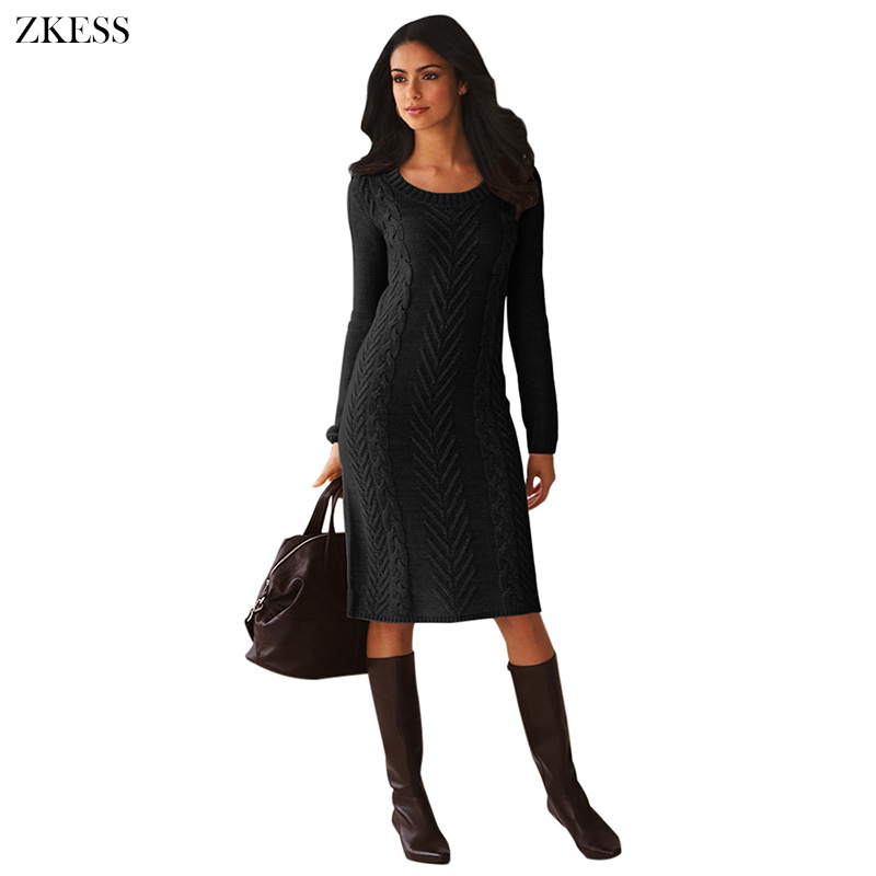 Black-Women-s-Hand-Knitted-Sweater-Dress-LC27772-2-1