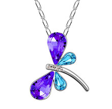free shipping promotion charm wholesales Austria quality Crystal dragonfly butterfly Pendant Necklace fashion jewelry accessorie(China)