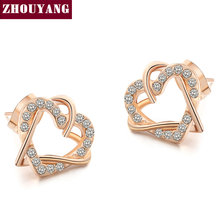 Buy Top Luxury Gold Heart Rose Gold Color Stud Earrings Jewelry Austrian Crystal Wholesale ZYE030 ZYE031 for $2.28 in AliExpress store