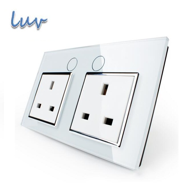 UK Standard Wall Power Socket, VL-C7C2UK-11, Wall Switch, White Crystal Glass Panel, Manufacturer of 13A Wall Outlet<br><br>Aliexpress