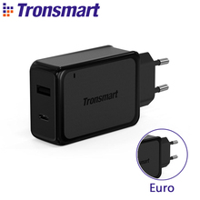 Tronsmart W2PTE USB Type C Quick Charge 3.0 USB Charger with USB VoltiQ for Xiaomi for LG G5 Fast Phone Charger Adapter EU Plug(China)