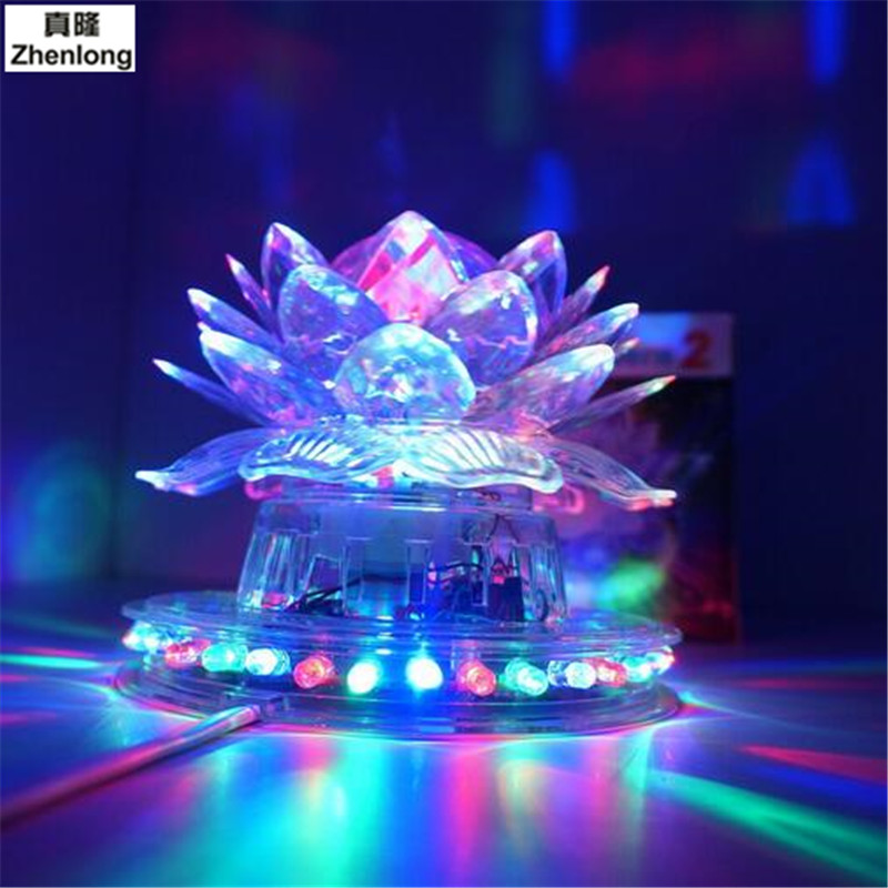 Lotus Lamp Colorful Rotating Lights Flash Crystal Ball Without Magic Voice Pauline Lantern KTV Square Bar Dance Atmosphere Led<br>
