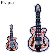 Prajna Cute Rock Guitar Music Patch Cheap Embroidered Hippie Patches Kids Iron On Cartoon Patches For Clothes Stickers Applique(China)