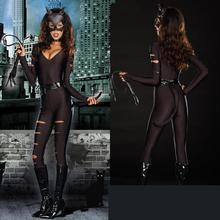 New Arrive 3 Pieces Suit Set Cosplay Halloween For Women Sexy Cat Fight Costume Bodysuit Kit Animal Catwomen(China)