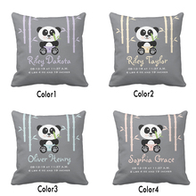 Custom Baby Birth Stats Cute Bamboo Panda Throw Pillow Cover Decorative Pillow Case Cotton Polyester Baby Nursery Cushion Covers
