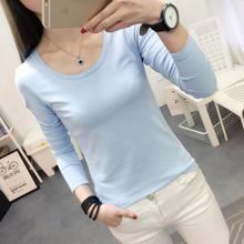 2017 Spring Autumn Women Basic T Shirt Plain Round Crew Neck Tee Shirts Stretch Long Sleeve Top T-Shirts Sky blue tops M TO XXL(China)