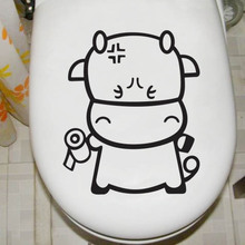 DIY Cartoon toilet stickers glass stickers cabinet door wall stickers home decals