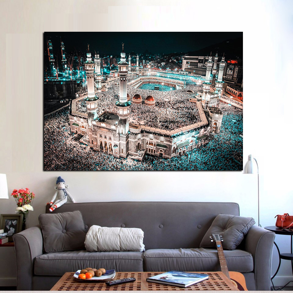 Modern Print Islam Pilgrimage to Mecca Sacred Mosque Night Landscape on Canvas Wall Painting for Living Room Sofa Cuadros Decor