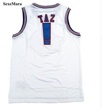 SexeMara Movie Space Jam Jersey TAZ #! ROADRUNNER #00 BUGS #1 D.DUCK #2 LOLA #10 MURRAY #22 Tune Squad White Basketball Jersey