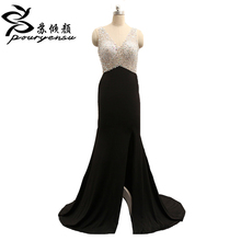 2017 New Arrival Real Pics V Neck Chiffon A Line Evening Dress Backless With Beading Wedding Party Gowns Robe De Soiree Custom