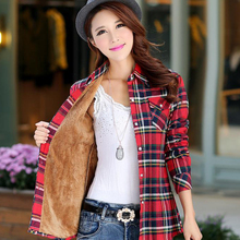 Women Shirt Thick Tops Blusa Camisa Femininas Autumn Winter Warm Cotton Long Sleeve Velvet Plaid Blouse Flannel Office Shirts