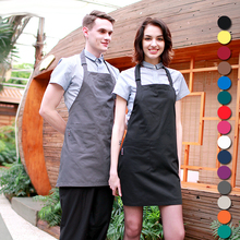 Women Men Apron Korean Waiter Aprons With Pockets Restaurant Kitchen Cooking Shop Art Work Apron Custom Print Logo